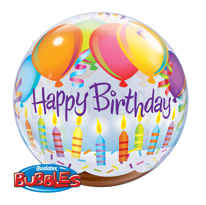 BUBBLE BALLOON 55CM - BIRTHDAY BALLOONS & CANDLES