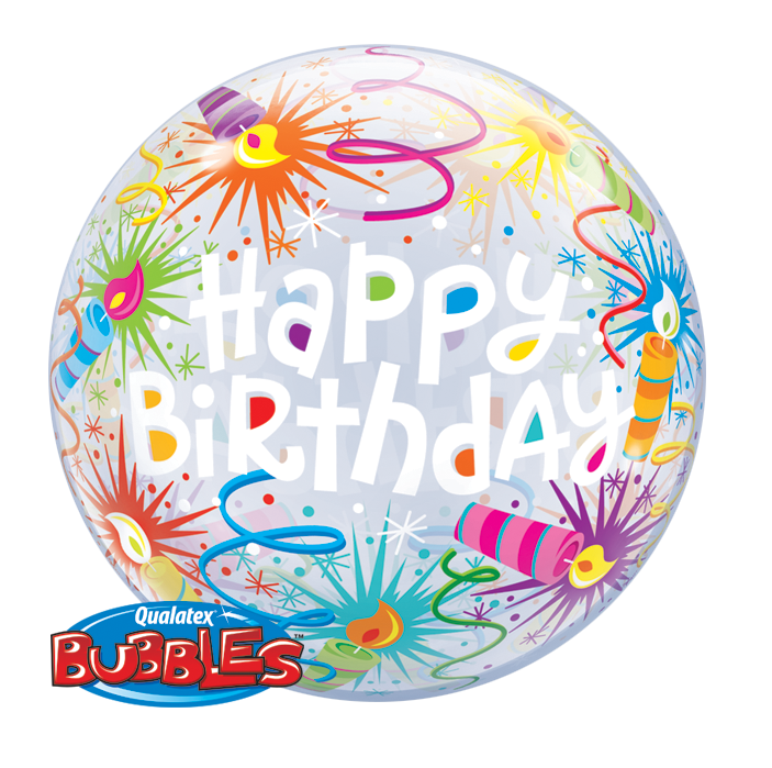 BUBBLE BALLOON 55CM - BIRTHDAY LIT CANDLES
