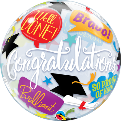 BUBBLE BALLOON 55CM - CONGRATS GRADUATION ACCOLADES