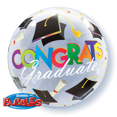 BUBBLE BALLOON 55CM - CONGRATS GRADUATION CAPS