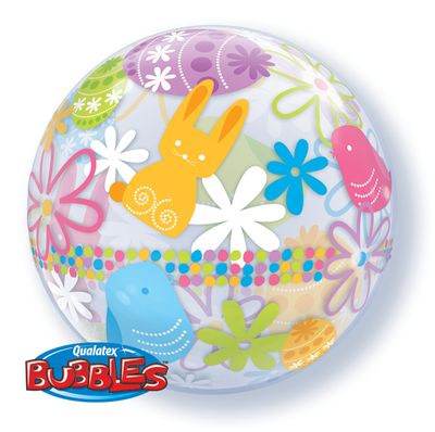 BUBBLE BALLOON 55CM - EASTER BUNNIES & FLOWERS
