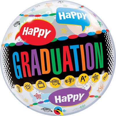 BUBBLE BALLOON 55CM - GRADUATION CONGRATS GRADUATE