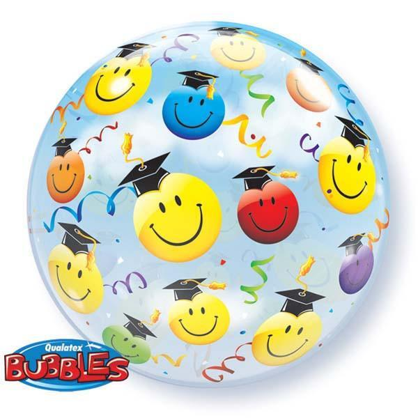 BUBBLE BALLOON 55CM - GRADUATION SMILE FACES