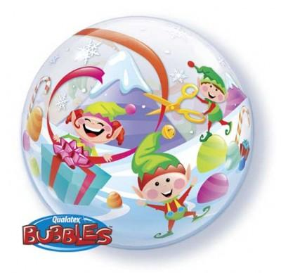 BUBBLE BALLOON 55CM - MERRY ELVES