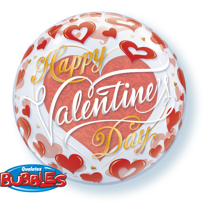 BUBBLE BALLOON 55CM - VALENTINES RED HEARTS