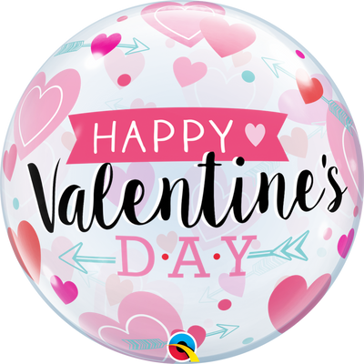 BUBBLE BALLOON 55CM - VALENTINE'S ARROW & HEARTS