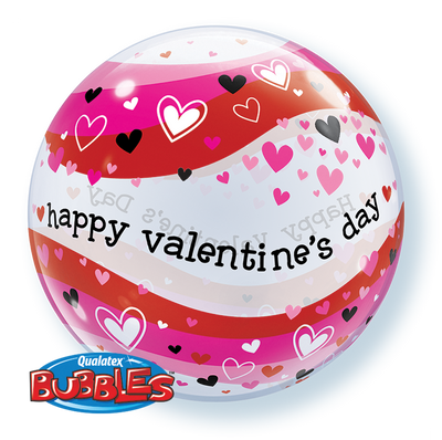 BUBBLE BALLOON 55CM - VALENTINE'S HEART WAVES