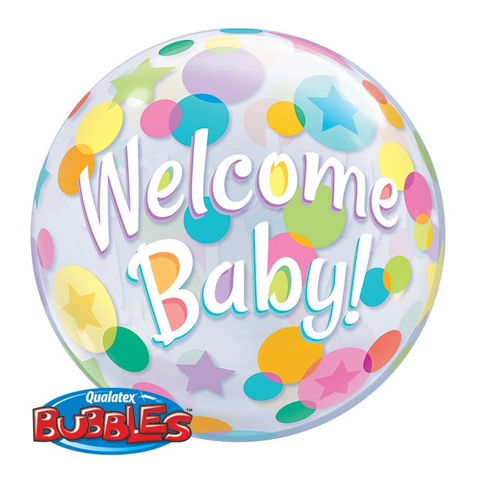 BUBBLE BALLOON 55CM - WELCOME BABY