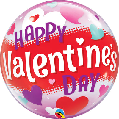 BUBBLE BALLOON 60CM - HAPPY VALENTINES DAY HEARTS