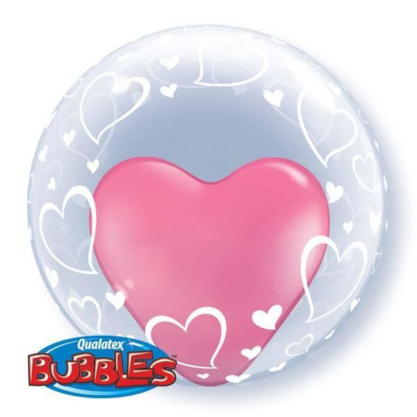 BUBBLE BALLOON 60CM  STYLISH HEARTS DOUBLE BUBBLE