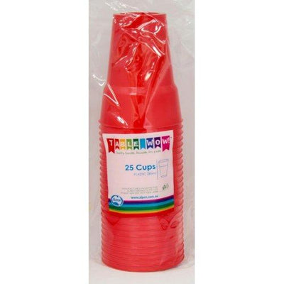 CUPS 285ML - RED PK25