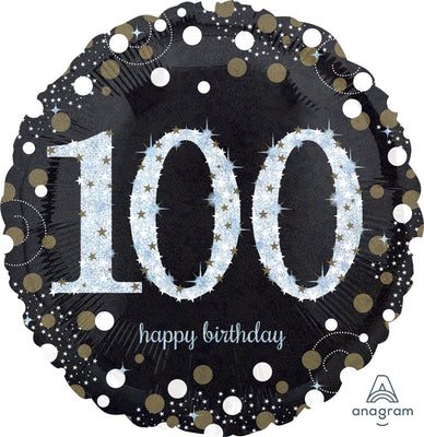 FOIL BALLOON 45CM - 100TH BIRTHDAY SPARKLING