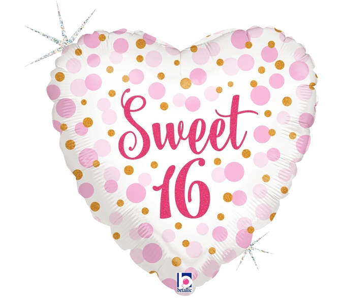FOIL BALLOON 45CM - 16TH SWEET BIRTHDAY
