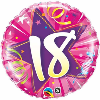 FOIL BALLOON 45CM - 18TH SHINING STAR HOT PINK