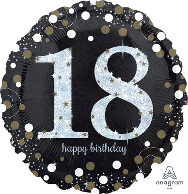 FOIL BALLOON 45CM - 18TH SPARKLING BIRTHDAY