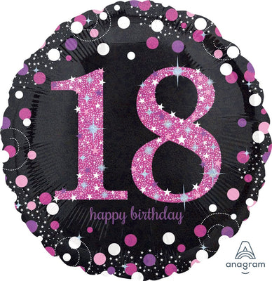 FOIL BALLOON 45CM - 18TH SPARKLING BIRTHDAY PINK