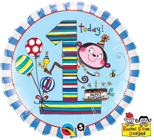 FOIL BALLOON 45CM - 1ST BIRTHDAY MONKEY STRIPES