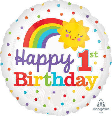 FOIL BALLOON 45CM - 1ST BIRTHDAY RAINBOW