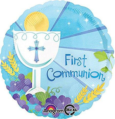 FOIL BALLOON 45CM - 1ST COMMUNION BLUE