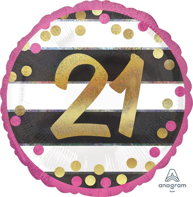 FOIL BALLOON 45CM - 21ST BIRTHDAY PINK AND GOLD