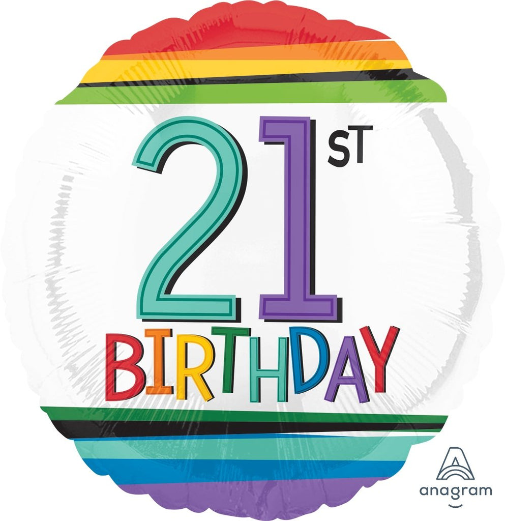 FOIL BALLOON 45CM - 21ST RAINBOW BIRTHDAY