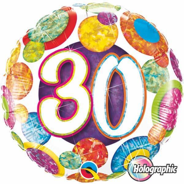 FOIL BALLOON 45CM - 30TH BIRTHDAY BIG DOTS & GLITZ