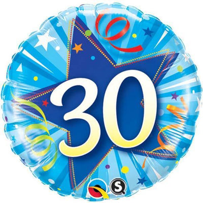 FOIL BALLOON 45CM - 30TH BIRTHDAY SHINING STAR BRIGHT BLUE