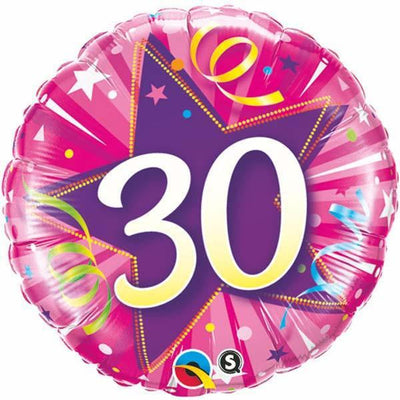 FOIL BALLOON 45CM - 30TH BIRTHDAY SHINING STAR HOT PINK