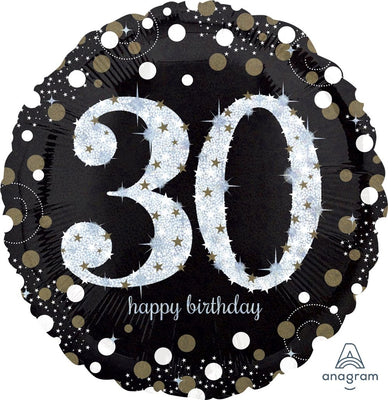 FOIL BALLOON 45CM - 30TH SPARKLING BIRTHDAY