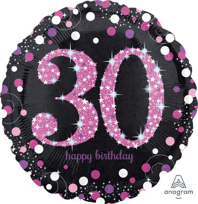 FOIL BALLOON 45CM - 30TH SPARKLING BIRTHDAY PINK