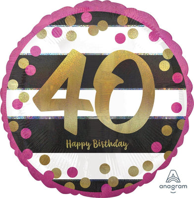 FOIL BALLOON 45CM - 40TH BIRTHDAY PINK AND GOLD