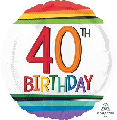 FOIL BALLOON 45CM - 40TH BIRTHDAY RAINBOW