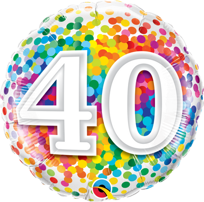 FOIL BALLOON 45CM - 40TH BIRTHDAY RAINBOW CONFETTI