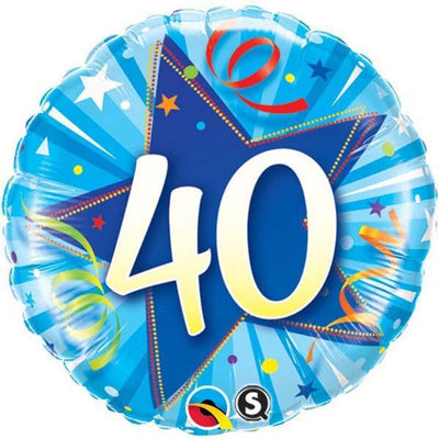 FOIL BALLOON 45CM - 40TH BIRTHDAY SHINING STAR BRIGHT BLUE