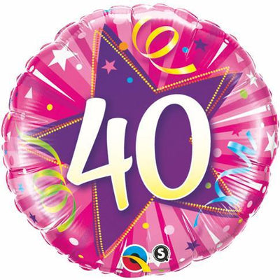 FOIL BALLOON 45CM - 40TH BIRTHDAY SHINING STAR HOT PINK