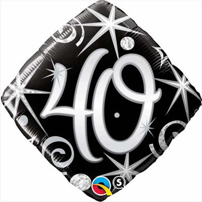 FOIL BALLOON 45CM - 40TH ELEGANT SPARKLES & SWIRLS