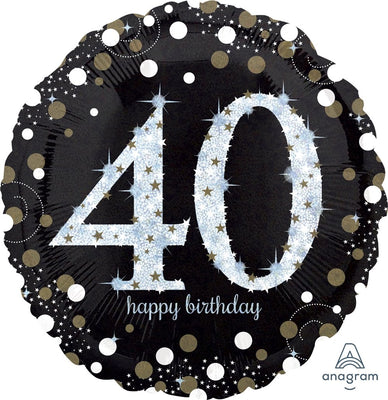 FOIL BALLOON 45CM - 40TH SPARKLING BIRTHDAY