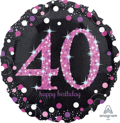 FOIL BALLOON 45CM - 40TH SPARKLING BIRTHDAY PINK