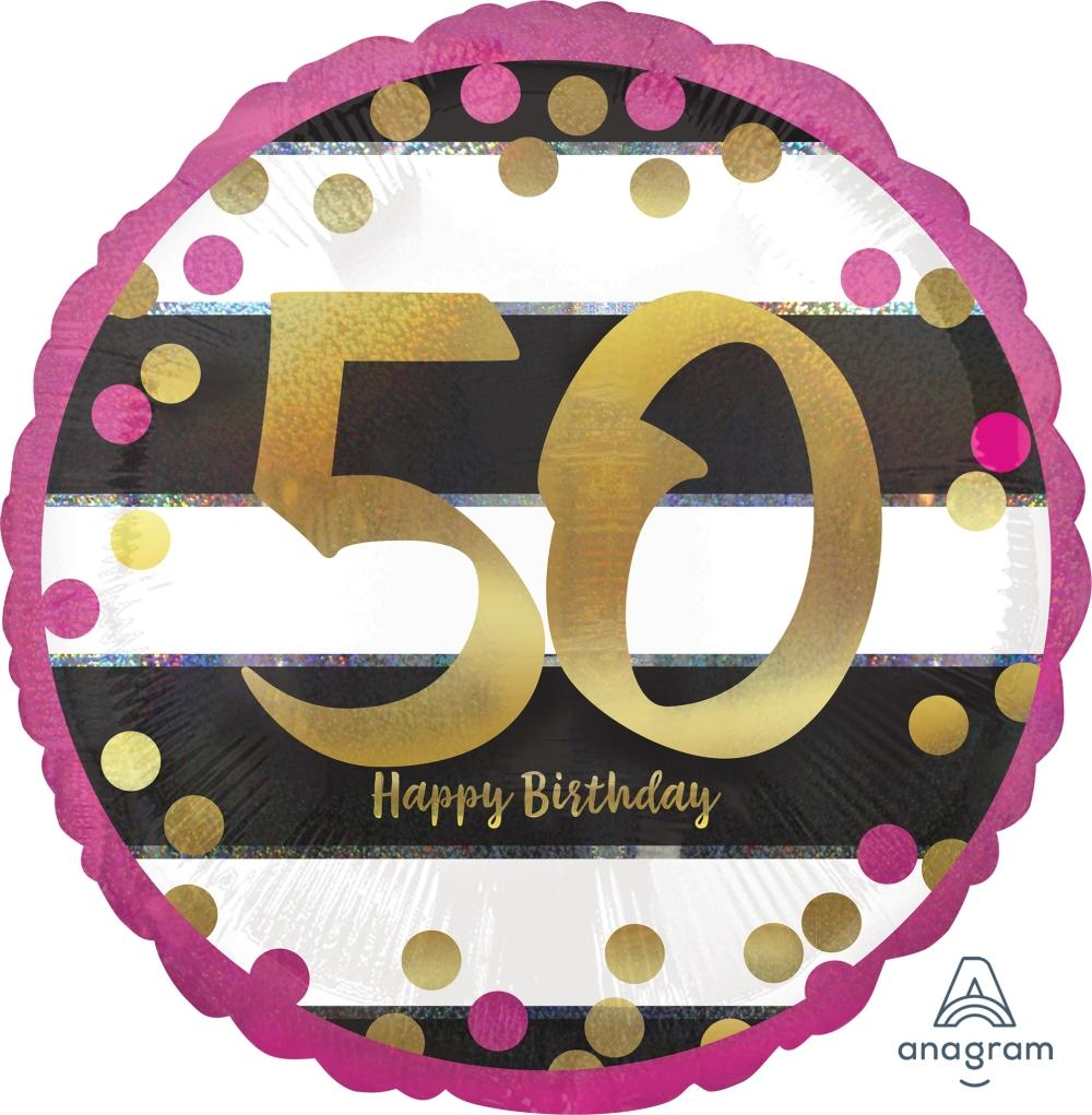 FOIL BALLOON 45CM - 50TH BIRTHDAY PINK AND GOLD