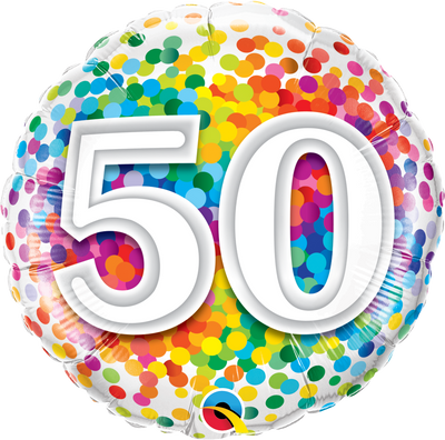 FOIL BALLOON 45CM - 50TH BIRTHDAY RAINBOW CONFETTI