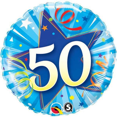 FOIL BALLOON 45CM - 50TH BIRTHDAY SHINING STAR BRIGHT BLUE