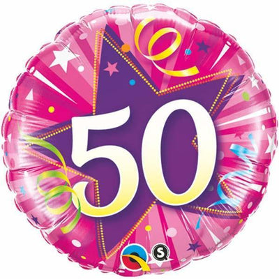 FOIL BALLOON 45CM - 50TH BIRTHDAY SHINING STAR HOT PINK