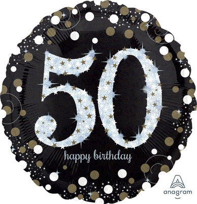 FOIL BALLOON 45CM - 50TH SPARKLING BIRTHDAY