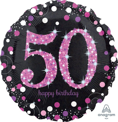 FOIL BALLOON 45CM - 50TH SPARKLING BIRTHDAY PINK