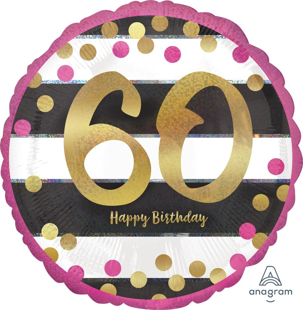 FOIL BALLOON 45CM - 60TH BIRTHDAY PINK AND GOLD