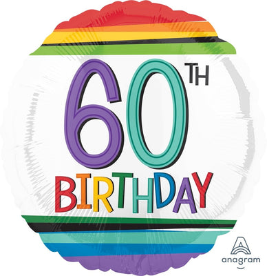 FOIL BALLOON 45CM - 60TH BIRTHDAY RAINBOW