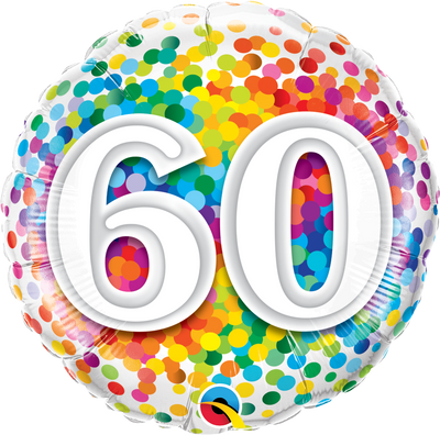 FOIL BALLOON 45CM - 60TH BIRTHDAY RAINBOW CONFETTI