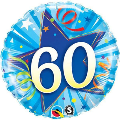 FOIL BALLOON 45CM - 60TH BIRTHDAY SHINING STAR BRIGHT BLUE