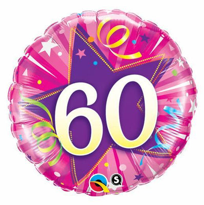 FOIL BALLOON 45CM - 60TH BIRTHDAY SHINING STAR HOT PINK