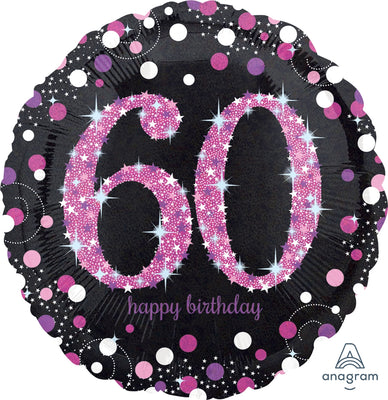 FOIL BALLOON 45CM - 60TH SPARKLING BIRTHDAY PINK